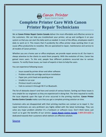 Complete Printer Care With Canon Printer Repair Technicians