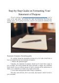 Step-by-Step Guide on Formatting Your Statement of Purpose - Page 2
