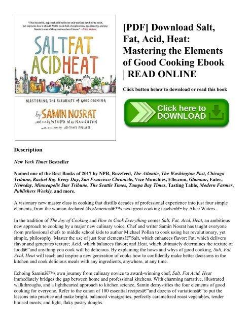 Pdf Download Salt Fat Acid Heat Mastering The Elements Of Good Cooking Ebook Read Online