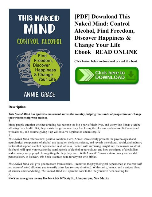Pdf Download This Naked Mind Control Alcohol Find Freedom Discover