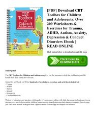 [PDF] Download CBT Toolbox for Children and Adolescents Over 200 Worksheets & Exercises for Trauma  ADHD  Autism  Anxiety  Depression & Conduct Disorders Ebook  READ ONLINE