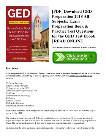 [PDF] Download GED Preparation 2018 All Subjects Exam Preparation Book & Practice Test Questions for the GED Test Ebook  READ ONLINE