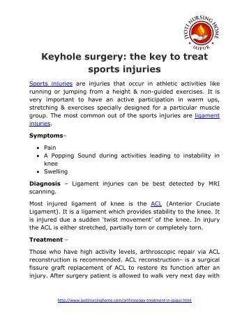 Keyhole surgery- the key to treat sports injuries-Dr JP Maheshwari