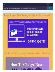 Change Yahoo Forgot Password 1-844-755-8737 Recovery reset!