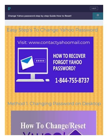 Change Yahoo Forgot Password 1-844-755-8737 Recovery reset!