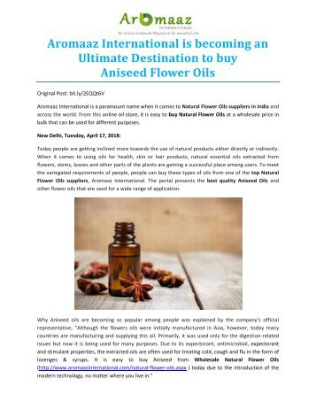 Aromaaz International is becoming an Ultimate Destination to buy Aniseed Flower Oils