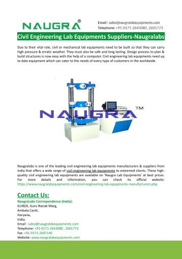 Civil Engineering Lab Equipments Suppliers-Naugralabs