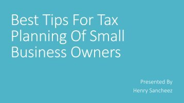 Best Tips For Tax Planning Of Small Business Owners