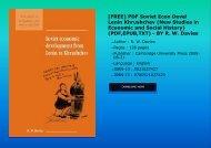 [FREE] PDF Soviet Econ Devel Lenin Khrushchev (New Studies in Economic and Social History) (PDF,EPUB,TXT) - BY R. W. Davies
