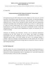 Hauptversammlung der EASY Software AG bestellt Dr. Thomas