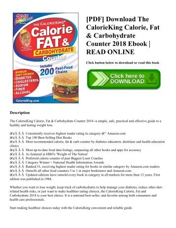 [PDF] Download The CalorieKing Calorie  Fat & Carbohydrate Counter 2018 Ebook  READ ONLINE