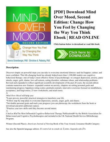 [PDF] Download Mind Over Mood  Second Edition Change How You Feel by Changing the Way You Think Ebook  READ ONLINE