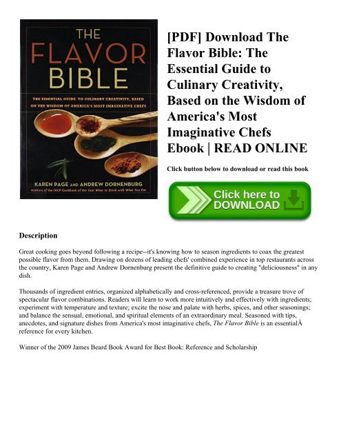 Pdf Download The Flavor Bible The Essential Guide To Culinary