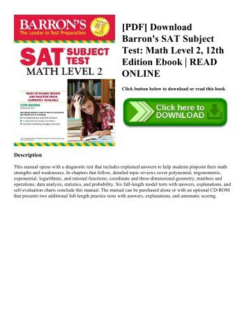 [PDF] Download Barron's SAT Subject Test Math Level 2  12th Edition Ebook  READ ONLINE
