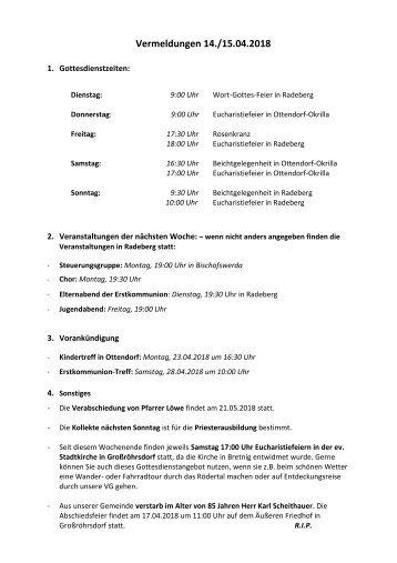Hier die Vermeldungen für KW16/18 (Berichtigung)