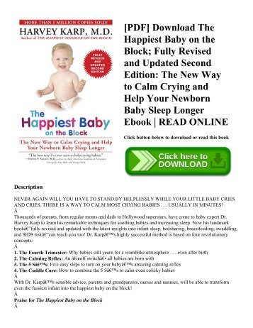 [PDF] Download The Happiest Baby on the Block; Fully Revised and Updated Second Edition The New Way to Calm Crying and Help Your Newborn Baby Sleep Longer Ebook  READ ONLINE