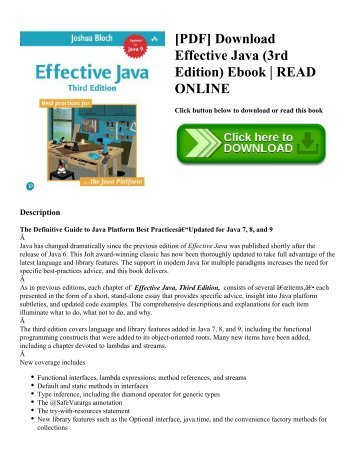 Pdf download effective java 3rd edition ebook read online pdf download effective java 3rd edition ebook read online fandeluxe Gallery