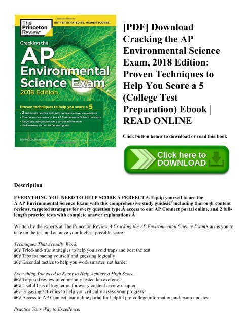 PDF] Download Cracking the AP Environmental Science Exam 2018