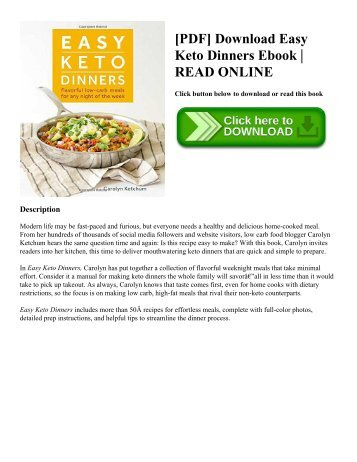 [PDF] Download Easy Keto Dinners Ebook  READ ONLINE