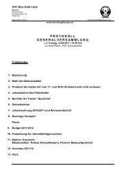 PROTOKOLL GENERALVERSAMMLUNG - UHC Blau Gelb Cazis