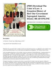 [PDF] Download The Color of Law A Forgotten History of How Our Government Segregated America Ebook  READ ONLINE
