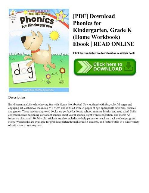 PDF] Download Phonics for Kindergarten Grade K (Home Workbook) Ebook