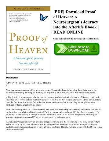 [PDF] Download Proof of Heaven A Neurosurgeon's Journey into the Afterlife Ebook  READ ONLINE