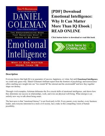 [PDF] Download Emotional Intelligence Why It Can Matter More Than IQ Ebook  READ ONLINE