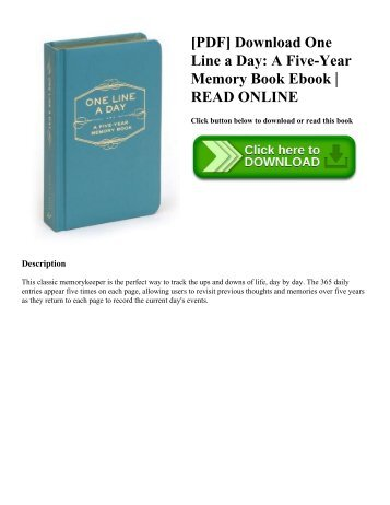 [PDF] Download One Line a Day A Five-Year Memory Book Ebook  READ ONLINE