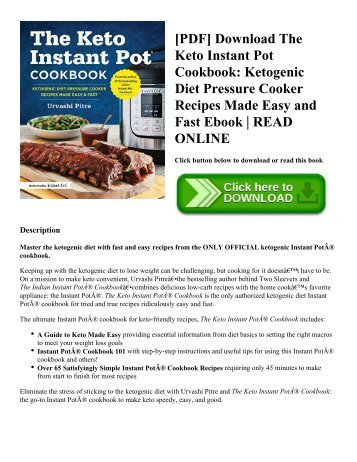[PDF] Download The Keto Instant Pot Cookbook Ketogenic Diet Pressure Cooker Recipes Made Easy and Fast Ebook  READ ONLINE
