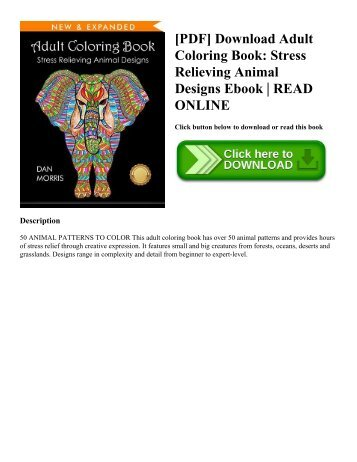 [PDF] Download Adult Coloring Book Stress Relieving Animal Designs Ebook  READ ONLINE
