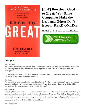 [PDF] Download Good to Great Why Some Companies Make the Leap and Others Don't Ebook  READ ONLINE
