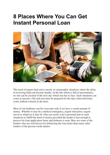 8 Places Where You Can Get Instant Personal Loan