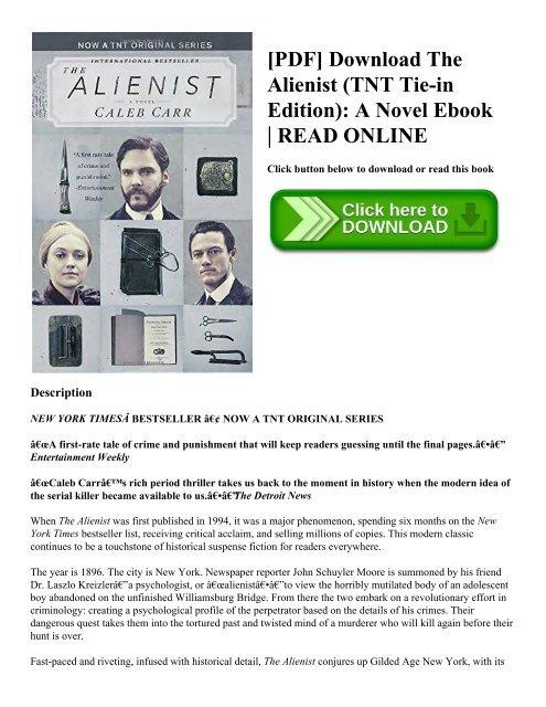 PDF] Download The Alienist (TNT Tie-in Edition) A Novel Ebook READ