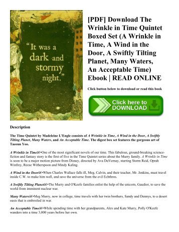 [PDF] Download The Wrinkle in Time Quintet Boxed Set (A Wrinkle in Time  A Wind in the Door  A Swiftly Tilting Planet  Many Waters  An Acceptable Time) Ebook  READ ONLINE