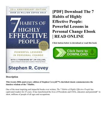 [PDF] Download The 7 Habits of Highly Effective People Powerful Lessons in Personal Change Ebook  READ ONLINE