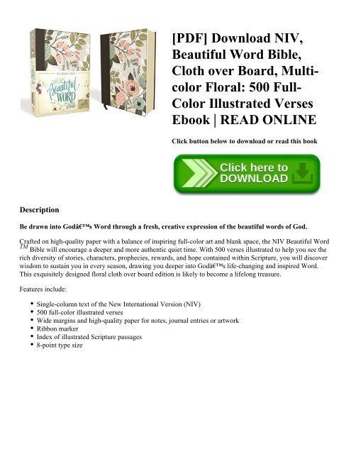 PDF] Download NIV Beautiful Word Bible Cloth over Board Multi-color