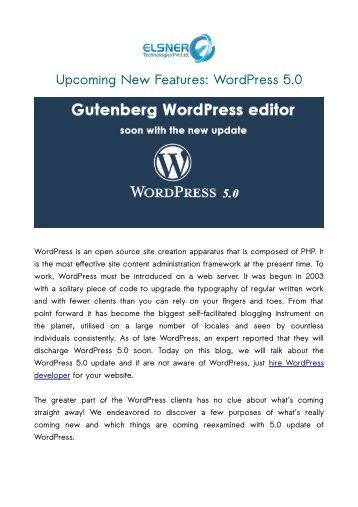 Upcoming New Features: WordPress 5.0