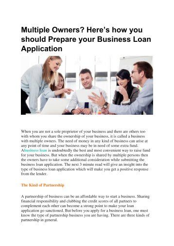 Multiple Owners Here's how you should Prepare your Business Loan Application