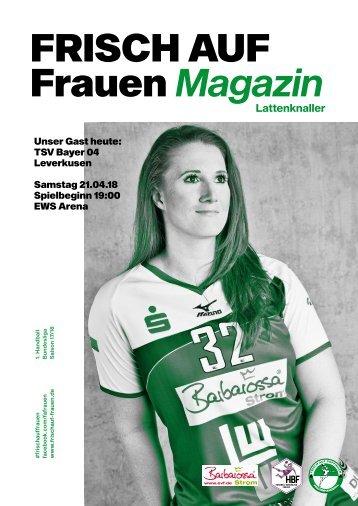 """Ausgabe 11 - Saison 2017/2018 - FRISCH AUF Frauen Magazin """"LATTENKNALLER"""""""