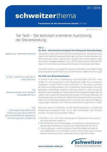 Schweitzer Thema: Tax Tech – Die technisch orientierte Ausrichtung der Steuerberatung