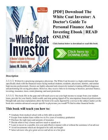 Pdf download alternative investments caia level i wiley finance pdf download the white coat investor a doctors guide to personal finance and investing fandeluxe Choice Image