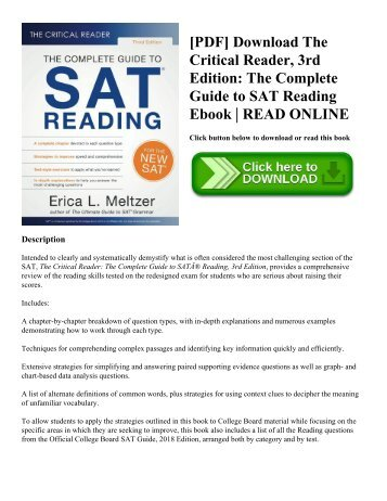 Pdf download dr john chungs sat math fourth edition 60 perfect pdf download the critical reader 3rd edition the complete guide to sat reading ebook fandeluxe Image collections