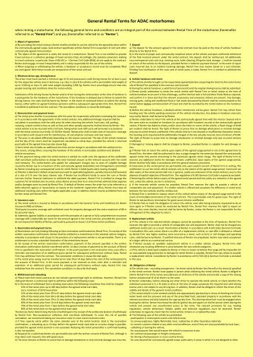 General Rental Terms for ADAC Motorhomes