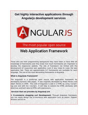 Get highly interactive applications through Angularjs development services