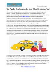 Top Tips for Renting a Car for Your Trip with Udaipur Taxi