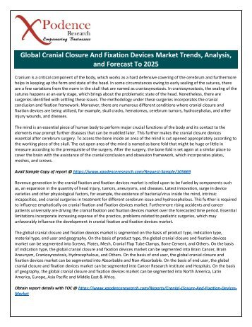 Cranial Closure and Fixation Devices Market to 2025: New Tech Developments, Advancements, Key Players, Strategies to Boost Industry Growth