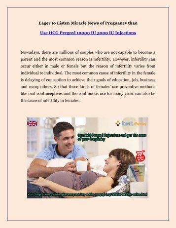 Buy HCG Pregnyl Injections Online to get off Infertility Disorder