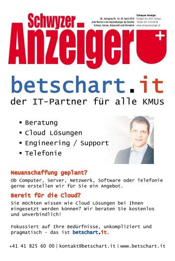 Schwyzer Anzeiger – KW16 – 19. April 2018
