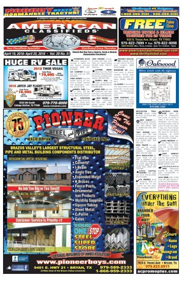 American Classifieds April 19th Edition Bryan/College Station